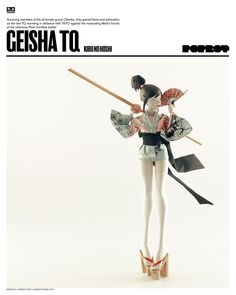 """GEISHA TQ KIBO NO HOSHI $140USD (Price includes Worldwide Shipping).  1/6th ratio using the 10"""" body. Available on 3/3/17 Only At Bambaland.com Designed by Ashley Wood. You can find more pics on our blog at WO3A.com #threeA #AshleyWood #AshleyWoodArt #Worldof3A #WO3A #Popbot #TomorrowQueens #TomorrowKings"""
