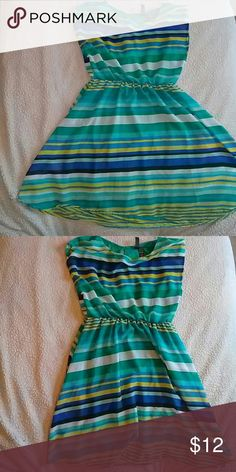 Striped flowy dress Blue, green, yellow striped dress. VERY cute for weddings, church, or just going out. Looks cute with wedges or dressy sandals! Dresses Midi