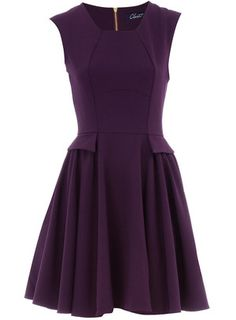 1bc150e6b9c48 Purple curved seam flare dress - Brands at Dorothy Perkins - Elastane on  Wanelo