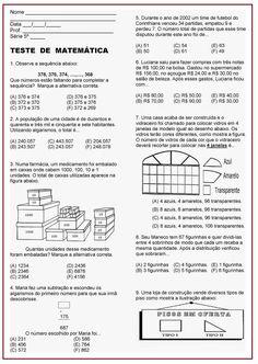 Atividade Avaliativa de Matemática   Sala de Aula – Profª Rérida Math Facts, English Class, Algebra, Professor, Homeschool, Bullet Journal, Study, Teaching, Activities