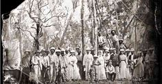 The opening of the finished Overland Telegraph Line in Darwin in 1870. Picture: State Library of South Australia ++ Australian Geographic