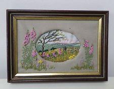 VINTAGE EMBROIDERED PICTURE PANEL framed,country landscape,flower mount