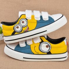 Size23-35 High quality Children kids Hand Painted Boys Girls Canvas sport Shoes Despicable Me Minions Casual Sneakers shoes