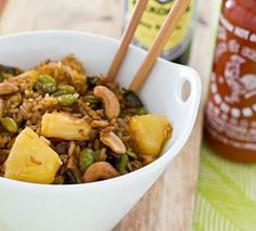 Baked Fried Brown Rice with Sriracha, Pineapple, Cashews and Edamame by ohmyveggies: Much less fussy and less oily than the stir fried version. You could even try it with quinoa. #Baked_Fried_Rice