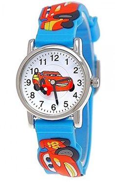 Pure Time Autos Cars Kinderuhr Jungen Mädchen Auto Kinder Silikon Armband Hellblau Blau Rot Sportuhr Lernuhr Uhr 3D