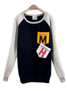 Navy Blue MM Pocket Round Neck Long-sleeved Sweatshirt$39.00