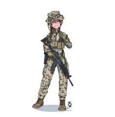 Anime Military, Military Girl, Comic Pictures, Manga Pictures, Cute Cartoon, Cartoon Art, Character Art, Character Design, Military Drawings