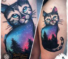 Cat, woods, nature, aurora borealis tattoo