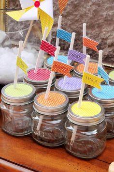 Good idea for drinks! mason jars with paper & straws! Square jars & straws via Kara's Party Shop KarasPartyIdeas.com #summer #grilling #drinks