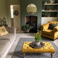 It was my Parkrun, day of kitchen cupboard painting and post featuring these fading daffs today. Mustard Living Rooms, Cottage Living Rooms, Living Room Green, New Living Room, Living Room Decor Colors, Living Room Color Schemes, Living Room Designs, Salons Cosy, Victorian Living Room