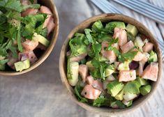 Ceviche med laks - Opskrift på den lækre lette fiskeret Ceviche, Potato Salad, Seafood, Potatoes, Avocado, Lime, Ethnic Recipes, Merry, Eat
