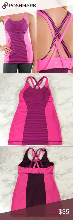 Lululemon Pink Striped Strappy Energy Tank Size 2▪️In perfect condition, no stains, holes or flaws▪️Features built in bra▪️Mesh panel on back▪️Save 10% on bundles of 2 or more items 💕 lululemon athletica Tops Tank Tops