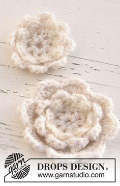 """Hæklede DROPS blomster i 1 tråd """"Alpaca"""" og 2 tråde """"Kid-Silk"""". ~ DROPS Design"""