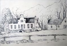 Krige-Rustenberg Cape Dutch, Thatched Roof, Buildings, Architecture, Artwork, Painting, Beautiful, Arquitetura, Work Of Art