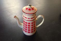 Antique French Enamelware Coffee Pot by Vintagefrenchlinens/etsy