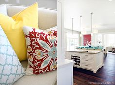 Red, turquoise, yellow kitchen and great room. Designed by Lindy Allen of Four Chairs Furniture. Built by Millhaven Homes. Photographed by Hiya Papaya.