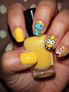 Spongebob #nailart featuring Zoya Creamy!