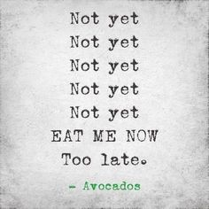 Dirtbag Avocados - so true! Haha we were making jokes about this... Jason said we have a 5-minute window to eat them Whenever we get them