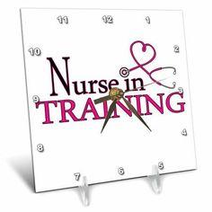 3dRose Nurse in Training Pink Heart Stethoscope, Desk Clock, 6 by 6-inch