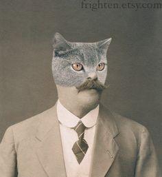 Cat Man, Anthropomorphic Altered Vintage Photo by Etsy seller frighten