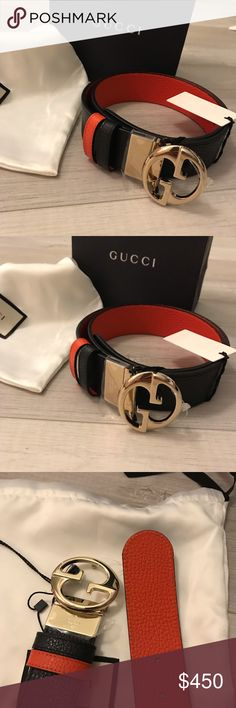 b05ba77949c Authentic Gucci Reversible GG Belt Size 80-32 Orange and black color. New  with