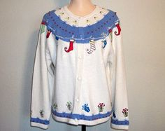 Christmas Sweater Size Medium Christmas Cardigan Holiday Clothing Ugly Christmas Tacky Elf Stocking Cream Blue Sweater Large Womens Clothing