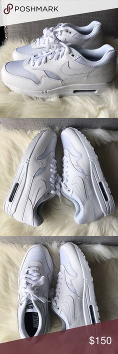 NWT NIKE ID AIR MAX 1 CUSTOM ALL WHITE SHOES Brand new. No box.  Custom made Nike ID. Price is firm. Ships same day or very next. 📦 Nike Shoes Sneakers
