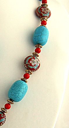 Red Butterfly Necklace Turquoise Necklace Red Coral Chinese