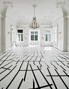 Interesting graphic that can be achieved by applying #vinyl #decals to a painted white floor.