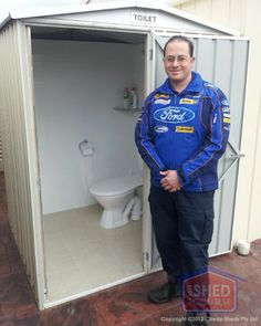 The Legendary Toilet shed! Glen works on cars in his workshop but his Wife kicked him out each time he wanted to use the loo in the house. so what does a handy man do? Build his own toilet outside! Handy Man, Sheds, Toilet, Kicks, Workshop, Ford, Sweatshirts, Projects, House