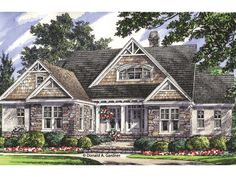 Craftsman House Plan with 2569 Square Feet and 4 Bedrooms from Dream Home Source | House Plan Code DHSW076897  Master and guest on main, kids rooms in basement