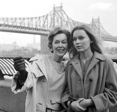 Maureen O'Sullivan and daughter Mia Farrow, 1963