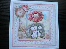 """2 x """"Cute LITTLE HEDGEHOGS & FLOWER """" Ready To Use Cardmaking Toppers"""