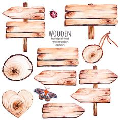 This handpainted collection of 9 watercolor wood slices clipart.Wood pointer, board,wooden heart,but. Watercolor On Wood, Watercolor Lettering, Watercolor Wedding Invitations, Watercolor Illustration, Tumblr Stickers, Cute Stickers, Journal Stickers, Planner Stickers, Clip Art