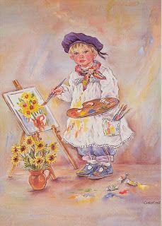 Paintbox Poppets : The Masterpiece © Copyright Christine Haworth Designs Special Images, Illustration Art, Illustrations, Gif Animé, Spanish Artists, Vintage Greeting Cards, Freelance Illustrator, Artist Art, Vintage Children