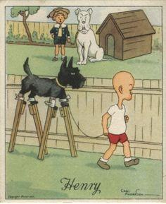 J Wix (Kensitas) Cigarette Card - Henry Series 4, Henry and big dog. Artist Carl Anderson | CC00120
