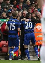 """#MUFC #GGMU """"He nearly killed me!"""" Sir Alex joked. """"He forgets I'm 71!"""" - on RvP's celebration as he praises his troops for today's performance"""