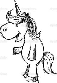 Easy to draw 2D Unicorns | Cute Unicorn Sketch Doodle Vector - Stock Illustration