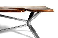 Live Edge Walnut Coffee Table w/ Steel Cantilever —
