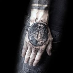 c7250ebe0 Cool Abstract Globe Male Hand Tattoos Globe Tattoos, Hand Tattoos For Guys,  Male Hands