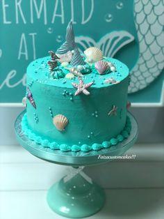 Ocean Birthday Cakes, Ocean Cakes, Pretty Birthday Cakes, Themed Birthday Cakes, Birthday Cake Girls, Reeces Cake, Turquoise Cake, Beach Themed Cakes, Ocean Party