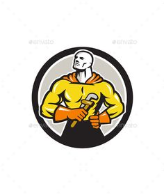 Plumber Superhero Monkey Wrench Circle Retro