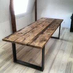 Dark Wood table with steel legs