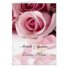 Wedding Menu Pink Roses Card