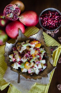 Fall Waldorf Salad- put those beautiful apples, pears and pomegranates to good use! | Go Go Go Gourmet @gogogogourmet