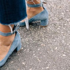 lace up, stacked heel, baby blues