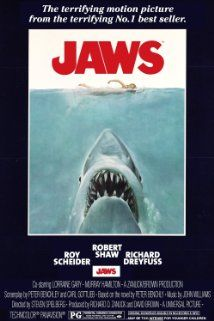 Jaws (1975) Poster- This movie had thrills, but most important it had real depth.
