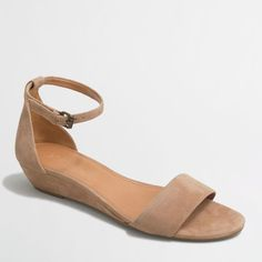 J.Crew Factory suede demi-wedge sandals ($58) ❤ liked on Polyvore featuring shoes, sandals, low heel sandals, suede shoes, suede leather shoes, small heel shoes and mid wedge sandals
