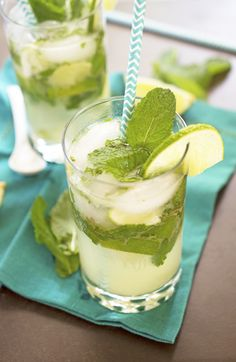 Mojito: Cuba cocktail made from white rum, lime, mint, cane sugar and sparkling water.