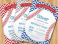 Baseball Birthday Invitation. First Birthday Baby Boy chevron invites. Gray, Blue, Red, Any Color. All Star Event. DIY digital printable on Etsy, $10.00